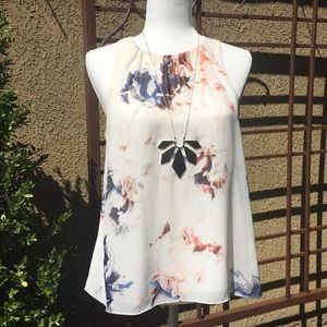 Vince Camuto Sheer Floral Tank